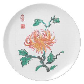 Orange Chrysanthemum Flower Plate