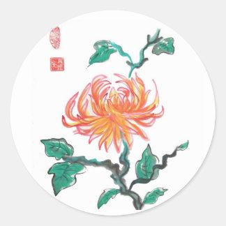 Orange Chrysanthemum Flower Stickers