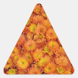 Orange chrysanthemum flowers pattern triangle sticker
