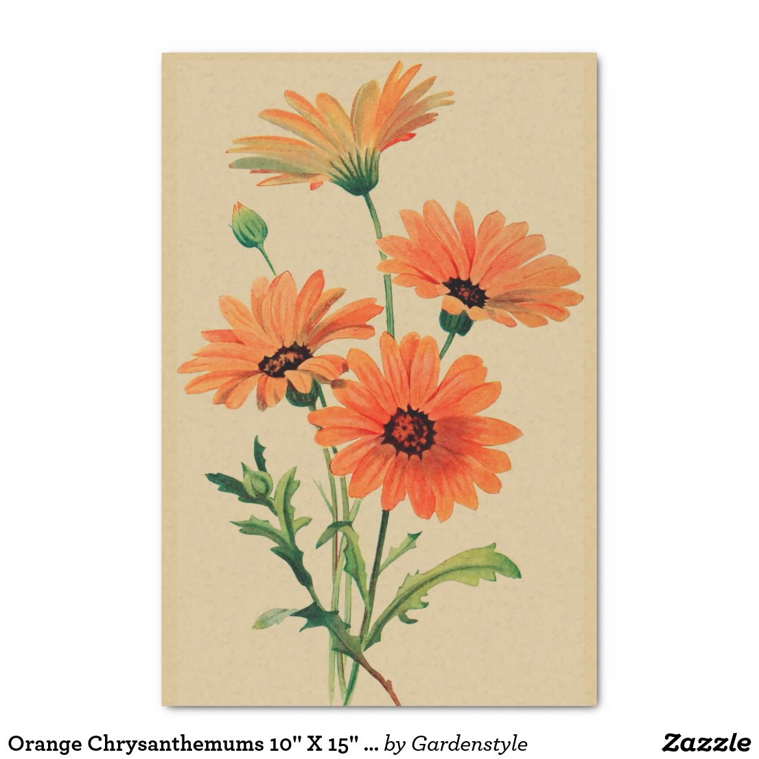 "Orange Chrysanthemums 10"" X 15"" Tissue Paper"