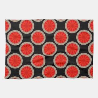 orange circle pattern mojo_kitchentowel