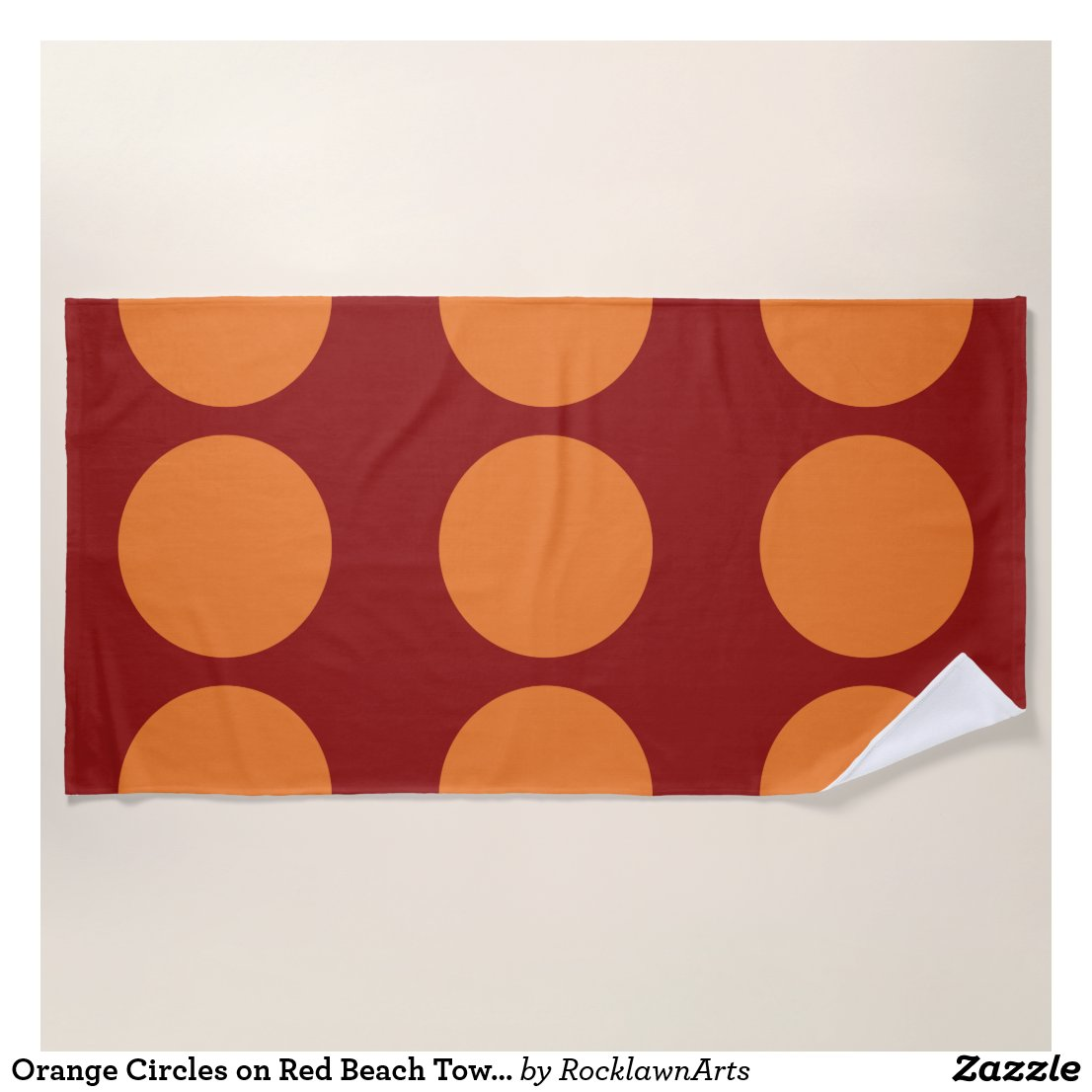 Orange Circles on Red Beach Towel