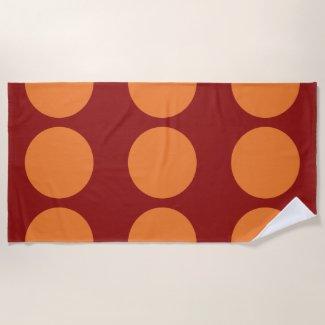 Orange Circles on Red Beach Towel