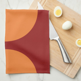 Orange Circles on Red Kitchen Towel