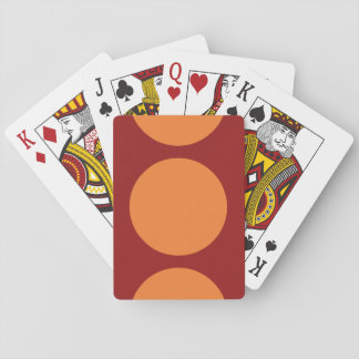Orange Circles on Red Playing Cards
