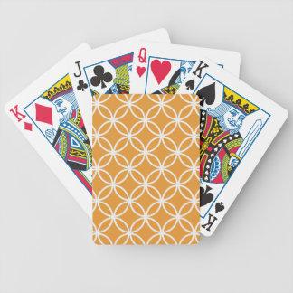 Orange Circular Pattern Bicycle Playing Cards