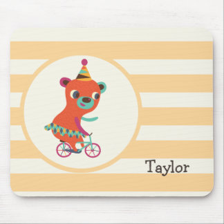 Orange Circus Bear on Bicycle; Peach Stripes Mouse Pad