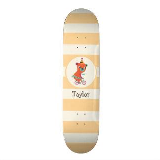 Orange Circus Bear on Bicycle; Peach Stripes Skate Deck