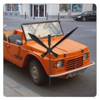 Orange Citroën Mehari Square Wall Clock