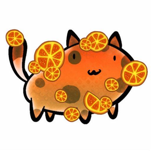Orange Citrus Fruit Cat Statuette