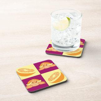 Orange Citrus Fruit Turtle Pattern Beverage Coaster