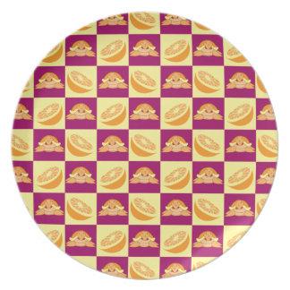 Orange Citrus Fruit Turtle Pattern Plate