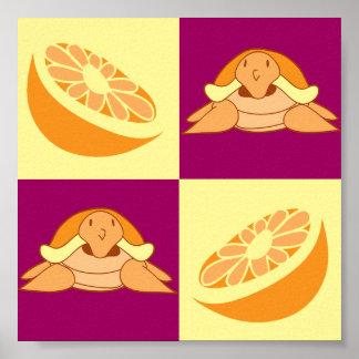 Orange Citrus Fruit Turtle Pattern Poster