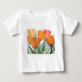 Orange Citrus Tulips Baby T-Shirt