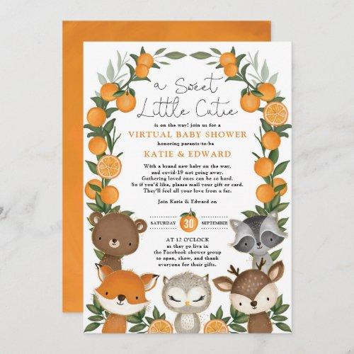 Orange Citrus Woodland Animals Virtual Baby Shower Invitation