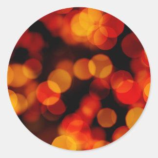 Orange City Lights Reflections Round Stickers