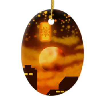 Halloween Themed Orange City Nights Ceramic Ornament