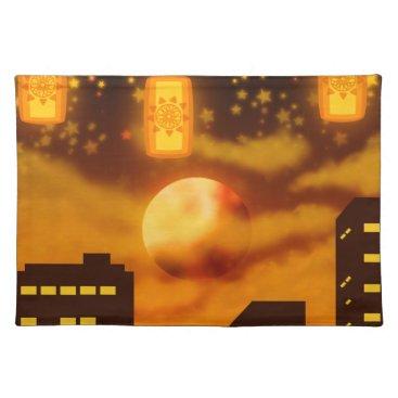 Halloween Themed Orange City Nights Cloth Placemat
