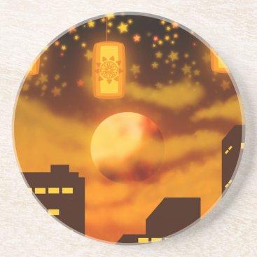 Halloween Themed Orange City Nights Drink Coaster