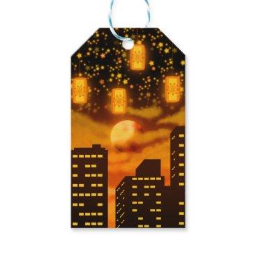 Halloween Themed Orange City Nights Gift Tags