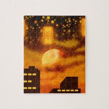 Halloween Themed Orange City Nights Jigsaw Puzzle