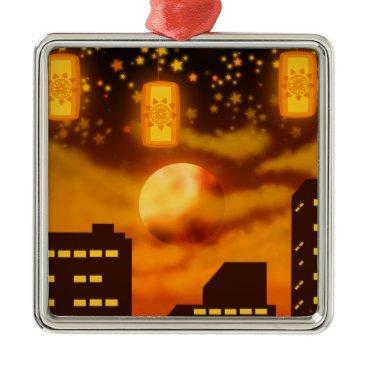 Halloween Themed Orange City Nights Metal Ornament