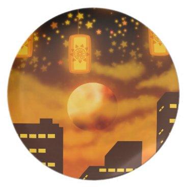 Halloween Themed Orange City Nights Plate