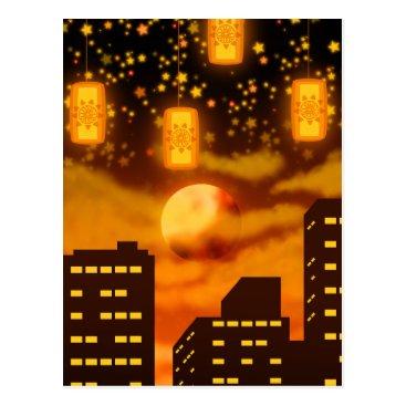 Halloween Themed Orange City Nights Postcard