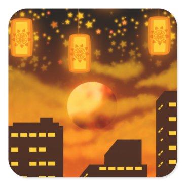 Halloween Themed Orange City Nights Square Sticker