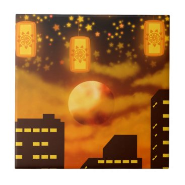 Halloween Themed Orange City Nights Tile