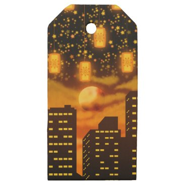 Halloween Themed Orange City Nights Wooden Gift Tags