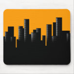orange cityscape mouse pad