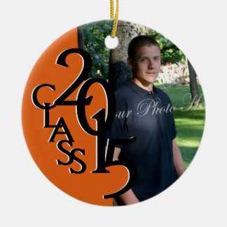 Orange Class 2015 Graduation Photo Double-Sided Ceramic Round Christmas Ornament