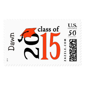 Orange Class Of 2015 Graduation Stamps