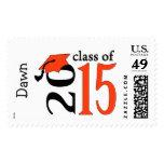 Orange Class Of 2015 Graduation Stamps