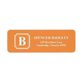 Orange Classic Monogram Address Labels