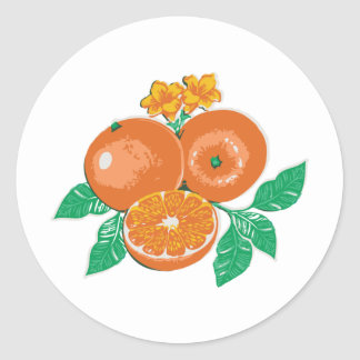 orange classic round sticker