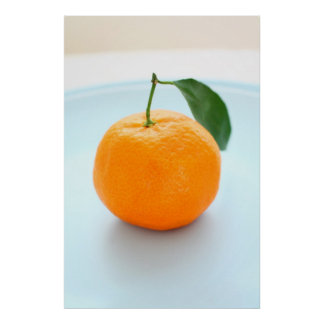 Orange clementines and a blue bowl poster
