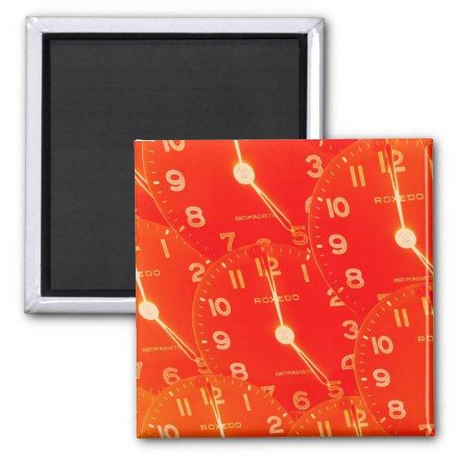 Orange Clock Face 2 Inch Square Magnet