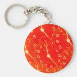 Orange Clock Face Key Chains