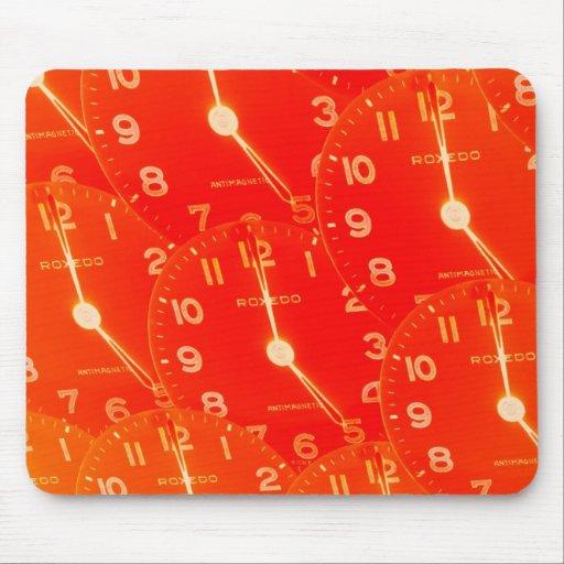 Orange Clock Face Mouse Pad