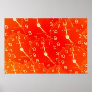 Orange Clock Faces Poster