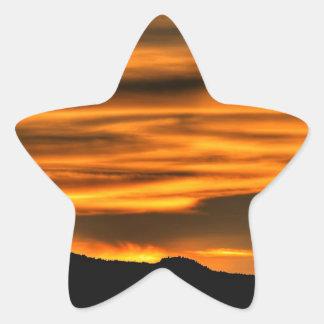 Orange Cloud Lines Star Sticker