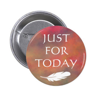 Orange Clouds White Feather - Just For Today 2 Inch Round Button