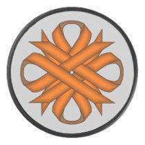 Orange Clover Ribbon by Kenneth Yoncich Hockey Puck
