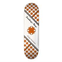 Orange Clover Ribbon by Kenneth Yoncich Skateboard Deck