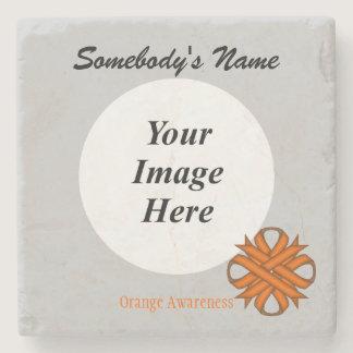 Orange Clover Ribbon by Kenneth Yoncich Stone Coaster