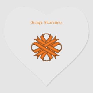 Orange Clover Ribbon Heart Sticker