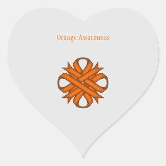 Orange Clover Ribbon Heart Sticker