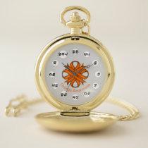 Orange Clover Ribbon (Kf) by K Yoncich Pocket Watch